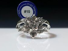 Green Man Wicca Sterling Silver Ring by Peter Stone Unique Fine Jewelry