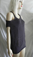 MARITHE FRANCOIS GIRBAUD ASYMMETRICAL CROCHET KNIT GRAY TOP COLD SHOULDER S NWOT