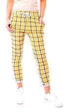 Señora pantalones de verano jogger Pants jogpants joggpants Karo a cuadros 34 36 38 amarillo