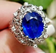 Stunning Vintage TOP Blue Kyanite Diamond 14k white gold ring