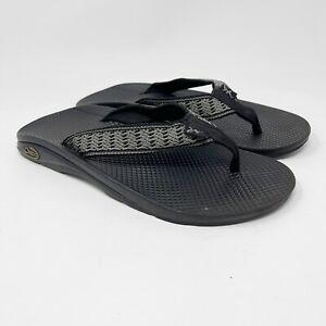 Chaco Mens Black Flip Flops Size 7 Gray Slip On Chacos Sandal M7