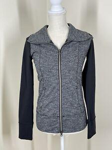 Lululemon DAILY YOGA Black and White Space Dye Full Zip Jacket Size 2