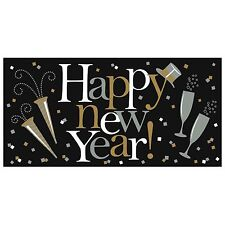 Happy New Year! Plastic Banner Decoration (33.5 inch X 65 inch) -Over 5ft. long!