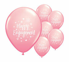 "10 x HAPPY ENGAGEMENT  LIGHT PINK 12"" HELIUM QUALITY PEARLISED BALLOONS (PA)"
