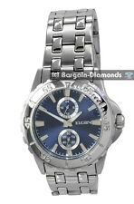 mens Elgin steel business sports watch blue dial 24 hr 60 sec bracelet