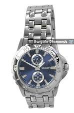 mens Elgin steel business sports watch blue dial 24 hr 60 sec bracelet