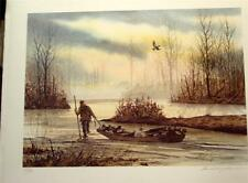 David Hagerbaumer  Hand Signed Limited Edition Art Print  Duck Hunter with Boat