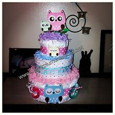 Owl Three Tier Diaper Cake--You Choose Color-- Baby Shower Or Birthday