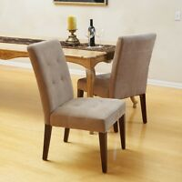 Set of 2 Elegant Tufted Design Cream Linen Upholstered Dining Chairs