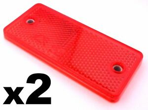 2x Red E-Approved Rectangular Reflectors for Trailers Caravan Gateposts