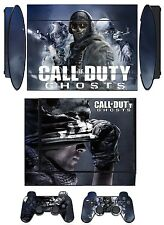 Skin Sticker PS3 PlayStation 3 Super Slim & 2 controller skins COD Ghosts Q268