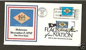 1633 & 4282 * DELAWARE STATE FLAG *2008 & 1976 STAMPS WITH FIRST DAY CANCEL *