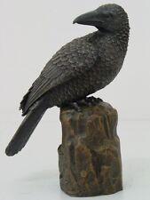 Black Raven Perching On Rock Figurine Statue.Bird Collectible.Home Decorative