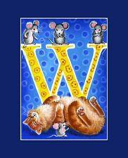 "Alphabet Cat ACEO Print Letter ""W"" by I Garmashova"