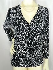 RAFAELLA Black and White Crossover 3/4 Sleeve Soft Stretch Knit Top Size LARGE