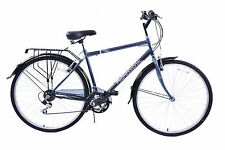 "REGENT 700C WHEEL MENS 18 SPEED HYBRID BIKE XL 23"" FRAME MUDGUARDS & CARRIER"