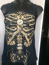 Steampunk Skeleton Bones Clock Singlet Top Shirt Print