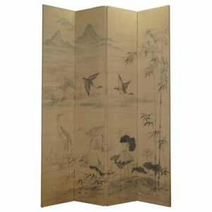 LOVELY VINTAGE WATER COLOUR HAND PAINTED ON FABRIC CHINESE FOLDING ROOM DIVIDER