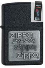 Zippo 363 pewter emblem black crackle Lighter + FLINT PACK