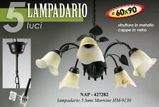 LAMPADARIO SALOTTO 5 LUCI VETRO D60 METALLO MARRONE SOFFITTO FOGLIE NAP 427282