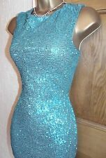 Gorgeous ❤️Jane Norman Turquoise Sequin Mini Wiggle Party dress size 10 12