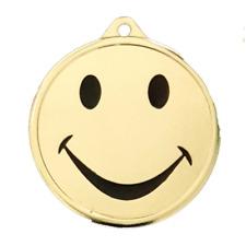 50 Stück Smiley Medaillen Ø 45mm mit Halsband und Beschriftung für viele Anlässe