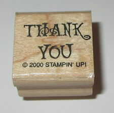 Thank You Rubber Stamp Stampin' Up! Wood Mounted Mini