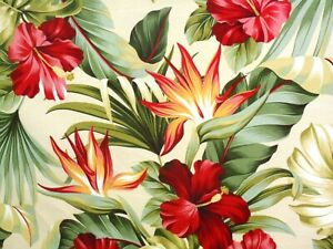 PAIR 82x52 THICK! Tropical Hawaiian Cotton Barkcloth Fabric Drapes ~Pua~