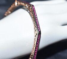 Estate 5ct Natural Ruby Solid 14K Gold Octagon Filigree Bangle Bracelet Heavy19g