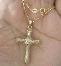 10k Yellow Gold and Rhodium Plated Diamond-Cut Cross Pendant 30x18mm