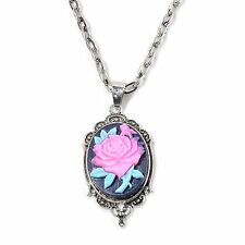 "CAMEO PINK ROSE CAMEO PENDANT WITH CHAIN 22-26"" SILVERTONE VINTAGE LOOK NEW"
