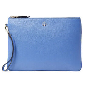 Kate Spade Polly Large Zip Clutch Pouch Wristlet Cornflower Blue Pebbled Leather