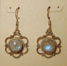 New listing Victorian inspired Rainbow Moonstone gemstone & Sterling silver earrings