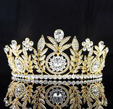 Daisy Floral Clear Rhinestone Tiara Crown Bridal Pageant Prom Wed Gold T59g