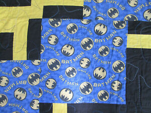 "Vintage Batman / Skateboard Tricks Quilt Cover 51"" by 67"" This Appears Handmade"