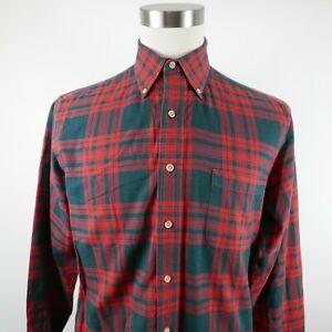 Vintage Viyella Mens Wool Blend LS Button Down Red Black Plaid Flannel Shirt M