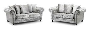 Sofa - Fulham - Crushed Velvet - 3 Seater- 2 seater- Armchair- Silver