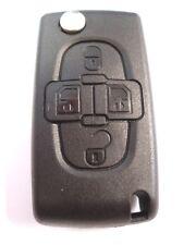 Recambio 4 Botón PLEGABLE LLAVE FUNDA PARA PEUGEOT 807 1007 MANDO batería con