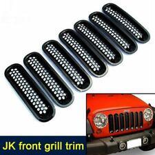 7x Glossy Black Front Grills Grille Mesh Insert Kit for Jeep Wrangler JK 07-18