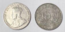 1922 NS ~ CANADA ~ 5 CENTS ~ GEORGE V ~ First large nickel ~ G6 condition
