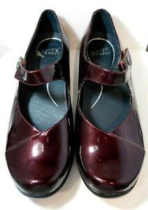 Womens Dansko Wine Cherry Opal Leather Mary Jane Clogs Shoes Size EUR 41 US 10.5