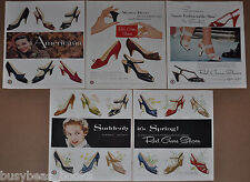 1954-55 RED CROSS Shoes advertisement x4, high heels, sandals etc large size ads