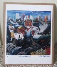 1998 DAN MARINO Dolphins Pitt Panthers Robert Simon Artist Proof Autograph Print