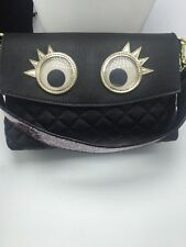 $85 Betsey Johnson  xox Trolls Convertible Clutch with  GOOGLE EYES BUP97