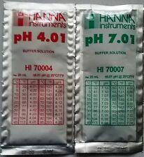 2 x HANNA PH METER BUFFER CALIBRATION SOLUTION 4.01 pH  + 7.01pH HI70007 HI70004