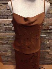 EUC Anthropologie Helena Sorel Dress - Laser Cut - 44 - Large - Brown & Yellow