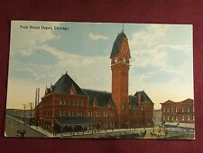 Polk Street Depot Chicago IL Railroad Train RR Postcard 1915 Antique