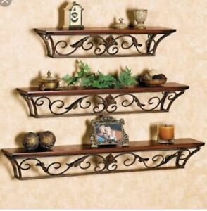 set of 3 Floating Wall Shelf Storage Shelves Wooden & Iron Home Office Décor