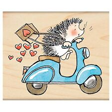 Sweet Ride Valentine Hedgehog, Wood Mounted Rubber Stamp PENNY BLACK- NEW, 4299J