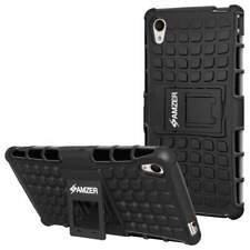 Shockproof Warrior Hybrid Case for Sony Xperia M4 Aqua - Black/Black